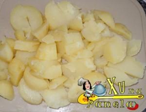 batatas cozidas e picadas
