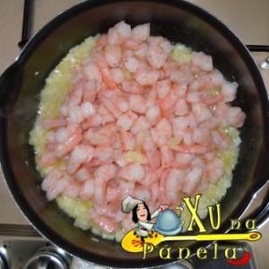 camarão e cebola