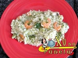 risoto de camarão e brócolis com alho-poró