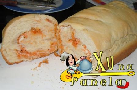 pão caseiro recheado frango requeijão