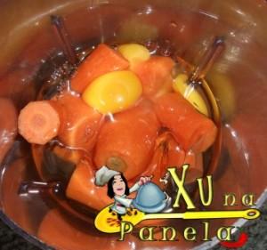 cenouras ovos e óleo no liquidificador