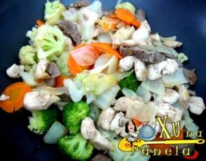 carnes e legumes para yakisoba