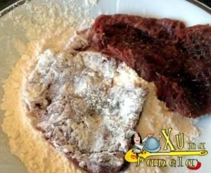 carne na farinha de trigo